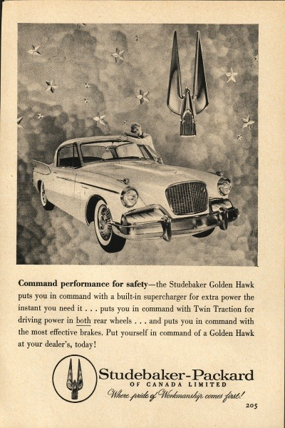Golden Hawk advertisement.  The Golden Hawk was the evolution of the early 1950s Studebaker Champion. It was the top of the line model in the Hawk series. A bad economy in 1958 led to only around 900 being sold and it was discontinued.