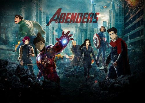 THE MIGHTY MIGHTY ABENDERS FEATURING: Korra Stark, Bolin Banner (the Adorable Hunk), Clint BarTahno, Asami Widow, Makodinson, Captain Linmerica, and Tenzin Fury My friend and I are not even sorry.