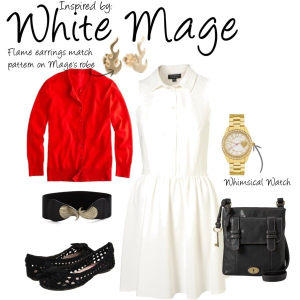 White Mage (Final Fantasy) by ladysnip3r featuring flat shoes This outfit is inspired by the White Mage of Final Fantasy. I chose to do a white dress to imitate the Mage's robes, along with a bright red cardigan. I also chose flame earrings because I think they look similar to the pattern on the Mage's robes. I paired this outfit with some quirky, whimsical accessories to add that sense of magic. This outfit could be really cute for hanging out, work, or even a date. (Reference Image) Topshop button front dress, $80J Crew knit top, $62Betsey Johnson flat shoes, $80FOSSIL crossbody bag, $85Betsey Johnson gold watch, $69Elastic belt, $20