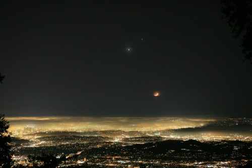 you-cant-be-my-superman:  the moon, venus & jupiter over los angeles
