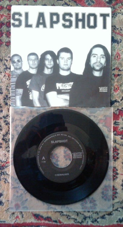 "SLAPSHOT - Firewalker - 7"" singleTaang Records, 1990-3,000 black (pictured)-500 white-500 red-500 blue-yellow-500 green"