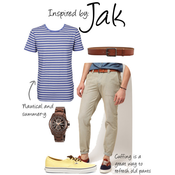 Jak (Jak and Daxter) by ladysnip3r featuring ASOS pants This outfit is inspired by Jak of Jak and Daxter. I chose to do a more nautical approach to this outfit to make it perfect for summer. I chose a blue and white striped shirt paired with light pants. Cuffing your pants is a great summer trend for guys and looks really cool - Don't be intimidated by it! I also chose a brown watch and belt to mimic his leather accessories and yellow sneakers that match his bright hair. (Reference Image) ASOS pants, $52Line Simple Stripe Tee, $8.99Armitron® Men's Brown Multifunction Watch, $85Vans California Authentic Canvas Sneakers, $65