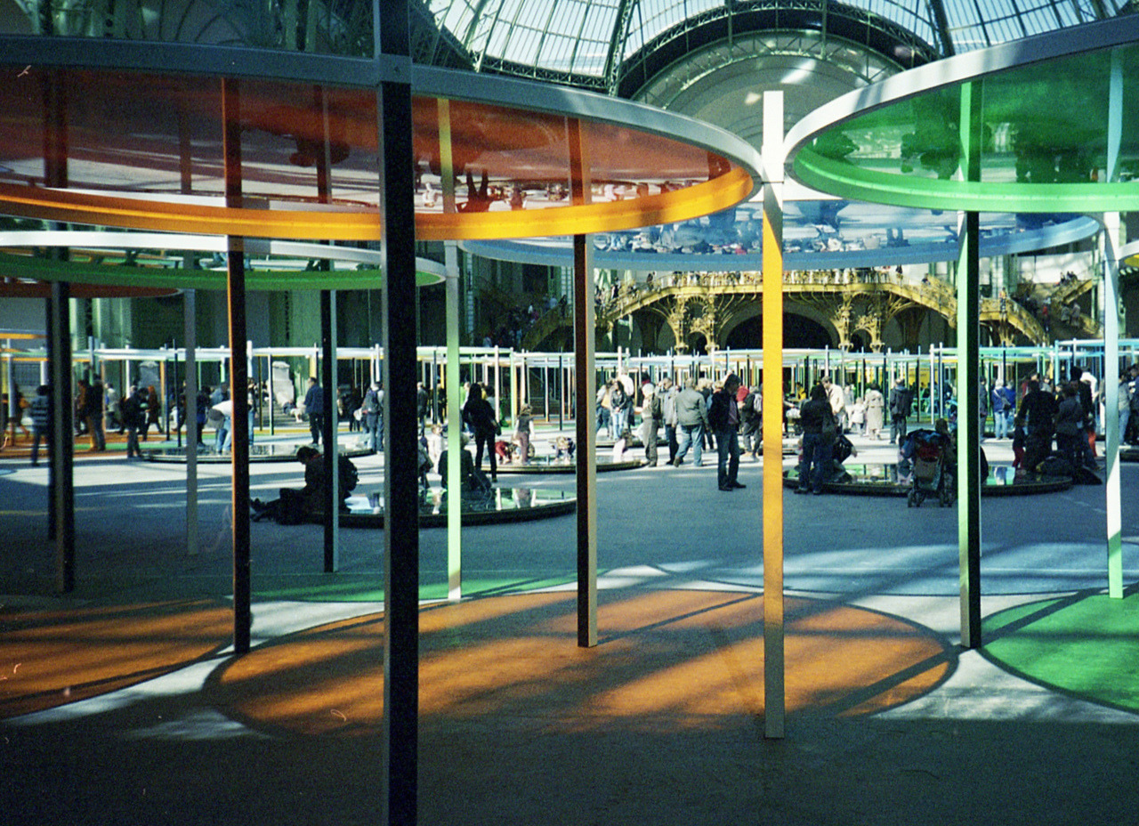 "daniel buren at the grand palais for the annual ""monumenta"" show in paris, where an artist occupies the great hall of the grand palais. architect patrick bouchain worked together with buren to create the structure of the work. (by victortsu)"
