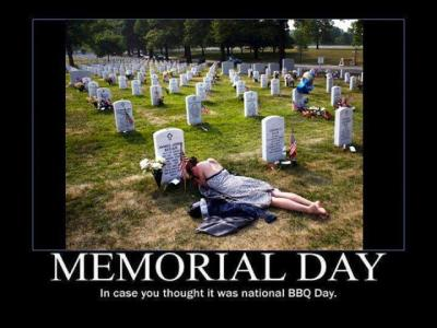 "sanctimonioussilentagony:  This memorial day, before you jump on the facebook bandwagon and start liking photos like these, or commenting with indignant rage about the people who obviously don't care about the troops, ask yourself how on earth it came to be that all the prettiest wives of soldiers put on their cutest, most feminine outfits then arranged themselves so artfully on their late husbands' graves so as to look the absolute weepiest for the professional photographer they didn't notice behind them.  Ask yourself why the injured war veterans got dressed up in their fatigues, rolled their wheelchairs out to the graves of their injured buddies to place flowers and weep on a day no one else was there except one lonely professional photographer they didn't notice.  Then ask yourself whether you're yet sick and fucking tired of being given drippy propaganda, glorifying the meaningless deaths of mostly lower-class enlisted people who joined up because they were promised college money and, should they fail to live, pictures like this at their graves forever, and accomplished mainly the killing of hundreds of thousands of brown people and the acquisition of lifelong post traumatic stress disorder when they were lucky enough to come home. Happy Memorial Day.   [Image description: A photo of a thin, apparently white woman in a strapless dress, lying on her stomach on a soldier's grave in a military cemetery. Her head is hanging and her face can't be seen. The caption reads: ""Memorial Day: In case you thought it was national BBQ Day.""]"