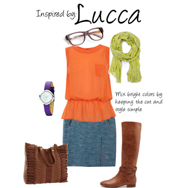 Lucca (Chrono Trigger) by ladysnip3r featuring a polyester shirt This outfit is inspired by Lucca of Chrono Trigger. I've actually never played Chrono Trigger, but after seeing this character's outfit (from a request) I really want to play it! She looks so cute and I just love the colors. I think I'm actually going to go buy this whole outfit for myself - it's probably one of my favorites that I've done. I chose to really make the most of her bright color palette. I chose a simple orange top and paired it with a blue pencil skirt. I think this outfit would be adorable with simple tights and knee high boots. I also chose to replicate her green scarf and incorporated her purple hair into the watch. This outfit may seem a little intimidating for those of you who don't wear too much color, but I think it looks put together because of the simplicity of all the pieces. These colors may stand out, but they look great together. (Reference Image) Miss Selfridge polyester shirt, $44Rag bone pencil skirt, $200Steve Madden beach tote, $80Zebra sunglasses, $30Mango cotton scarve, £9.99