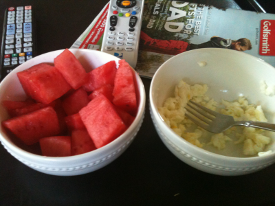 Yummy lunch of watermelon and scrambled egg whites!
