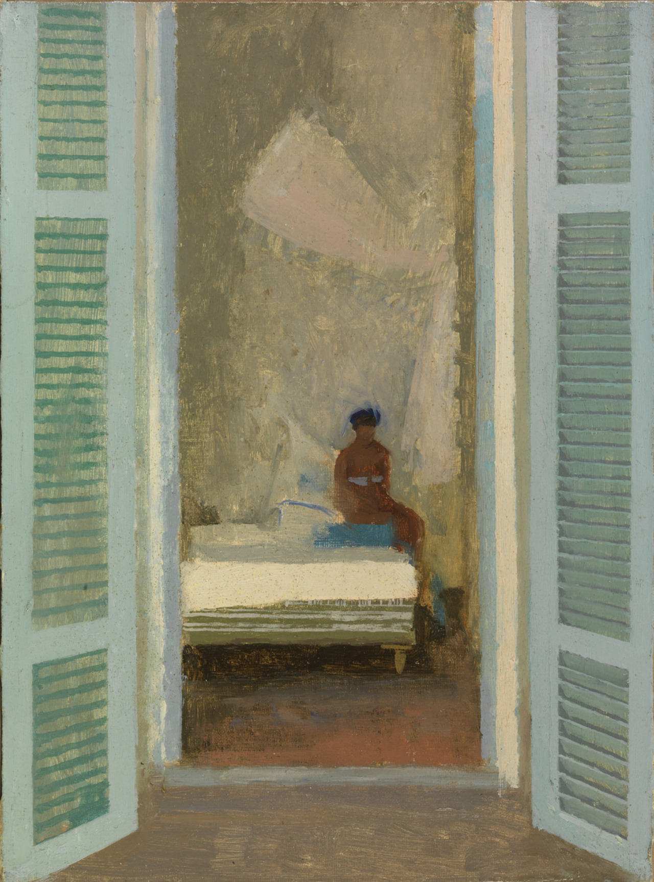 Lionel Bulmer (1919-1992) - The Turquoise Shutters, N/D. Oil on board. Messum's, London, UK