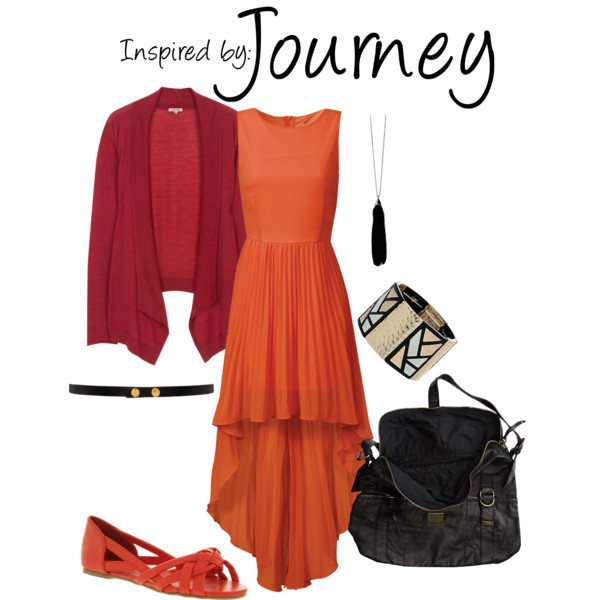 Journey by ladysnip3r featuring a studded waist belt This outfit is inspired by the main character of Journey. I chose to do a flow-y dress in a red/orange color, paired with a darker cardigan to mimic his poncho (?). I also chose to do black accessories to contrast against this monochromatic outfit. (Reference Image) Pleated dressPeeptoe shoes, £28Element over the shoulder bag, $50Dorothy Perkins stretch jewelry, $22Friis Company feather collar necklace, €16ASOS studded waist belt, $17