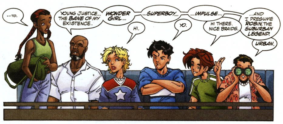 Young Justice #23 (2000)   Someday I might actually be coherent when I see panels of all of them together, but for now all I can do is coo. (also bart's hair, yes.)