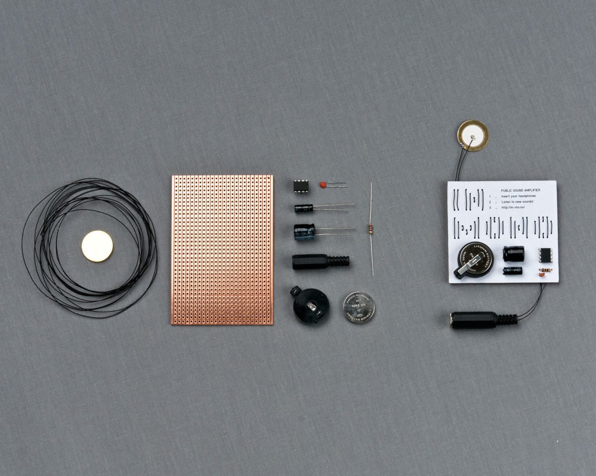 SUBMISSION: InMono is a small sound-amplifier generating soundwaves from vibrations naturally occuring in public objects. The project aims to let people tune into their surroundings in a new way.