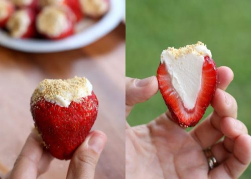 Cheesecake filled strawberries.    I want to eat this.    I must make these. Soon.