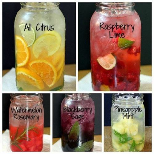 midnightdesires:  its-a-wonderland-tea-party:  Easy Fruit & Herb Flavored Water Ingredients  fruit — 2 cups berries, citrus, melons, pineapple…most fruits will work (see recommended amounts in directions) herbs — a sprig of mint, basil, sage, rosemary, tarragon, thyme, or lavender water (tap or filtered) ice  Directions Supplies needed: 2 quart pitcher or jar with lid; muddler or wooden spoonGeneral formula for whatever fruit/herb combo you desire.1. If using herbs, add a sprig of fresh herbs to jar/pitcher; press and twist with muddler or handle of wooden spoon to bruise leaves and release flavor; don't pulverize the herbs into bits.2. Add approx. 2 cups of fruit to jar/pitcher; press and twist with muddler or handle of wooden spoon, just enough to release some of the juices3. Fill jar/pitcher with ice cubes.4. Add water to top of jar/pitcher.5. Cover and refrigerate for up to 3 days.Suggested flavor combinations:ALL CITRUS (no herbs) — Slice 1 orange, 1 lime, 1 lemon into rounds, then cut the rounds in half. Add to jar and proceed with muddling, add ice & water.RASPBERRY LIME (no herbs) — Quarter 2 limes; with your hands, squeeze the juice into the jar, then throw in the squeezed lime quarters. Add 2 cups raspberries. Muddle, add ice & water.PINEAPPLE MINT — Add a sprig of mint to the jar (you can throw in the whole sprig; or, remove the leaves from the sprig, if you prefer to have the mint swimming around and distributing in the jar). Muddle the mint. Add 2 cups pineapple pieces, muddle, add ice & water.BLACKBERRY SAGE — Add sage sprig to jar and muddle. Add 2 cups blackberries; muddle, add ice & water.WATERMELON ROSEMARY — Add rosemary sprig to jar & muddle. Add 2 cups watermelon cubes; muddle, add ice and water.  Rosemary orange is good too.