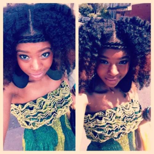 neffyfrofro:  Enjoying The London Sunday Sun… Almost 3 years relaxer free and loving every nano second of it :)