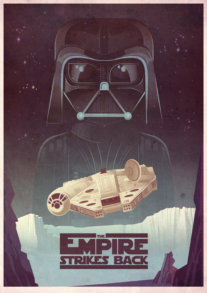tiefighters:  The Empire Strikes Back Illustration by James Gilleard