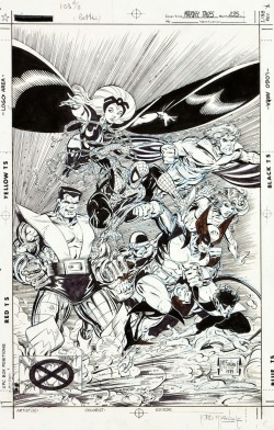 Inking of cover of Marvel Tales #235. March, 1990. Art by Todd McFarlane.