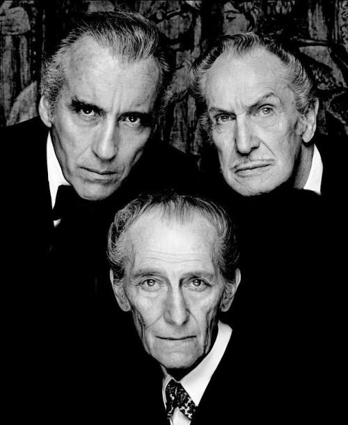 "arcaneimages:  Happy Birthday to the ""Bat Pack!"" Peter Cushing's birthday was yesterday, May 26, Vincent Price and Christopher Lee were both born on May 27th. Via William Forsche"