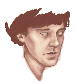 very very rough start of the newest portrait I'm working on of Sherlock. it's still super rough, so forgive me if it isn't looking very good yet. :P