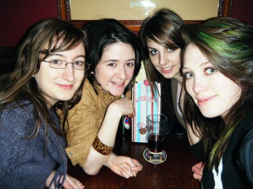 Photo 1 : May 27th 2012 Say Hi to Me :) from left to right: Jo, Me, Beth, Hannah (I love these girls :) ) I guess this is the best place to tell you a little bit about me and get this whole ball a rolling. Well, I'm a Drama and Theatre studies student at the university of Chester, England, recently I was looking for a new facebook profile pic and realized how few pics I actually take and with next year being my final year at uni I felt I really needed to start to chronicle it now while I still have the chance, so that my friends is why I have started this. The boring bit about me? well my favourite colour is Green, I am obsessed with films, minus those I refer to as pointless blood and gore. I love music, pretty much everything from Abba to Zappa really, with very few exemptions and history is a passion of mine, to a few I am known as the Dinosaur Girl, and no you are not allowed to call me that, they aren't either but that doesn't stop them :) my family and friends are my life and I would do anything for them. Well that's enough about me, I'm beginning to get sick of the sound of my own typing!  type again soon be safe, be yourself, strive to be happy god bless xx
