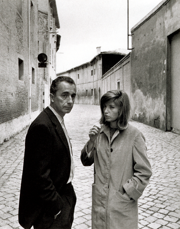 wehadfacesthen:  Michelangelo Antonioni and Monica Vitti on the set of Red Desert, 1964 via distancetouch