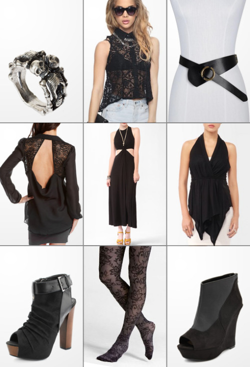 Skeleton Ring :: Lace Button-Up Shirt :: O-Ring Wrap Belt Open Back Utility Blouse :: Twist Cutout Maxi Dress :: Draped Racerback Vest Peep Toe Ankle Strap Bootie :: Full Lace Tights :: Pieced Wedge Bootie