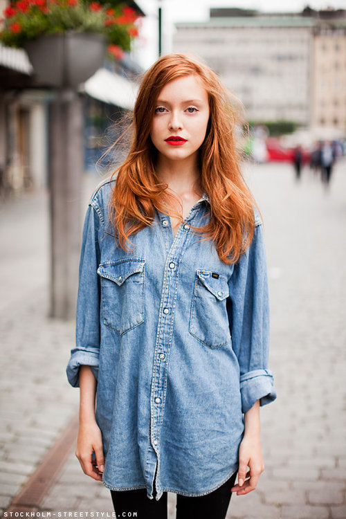 cute, denim, fashion, ginger, girl - inspiring picture on Favim.com on We Heart It. http://weheartit.com/entry/29416127