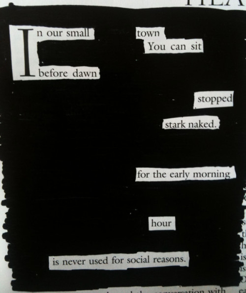 newspaperblackout:  A blackout by Brian Crum