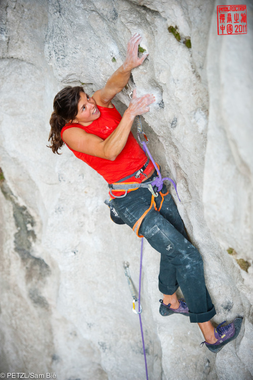 "Nina Caprez in ""Powder Finger"", 8b+/c."