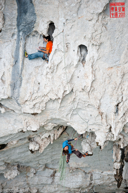 "Dani ANDRADA belayed by Chris SHARMA in ""Corazon de Ensueno"", Pitch 7 : 7c+ at the Great Arch."