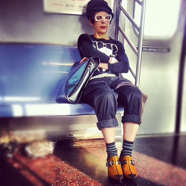 #hipster level: Granny. #style #NYC #newyorkcity #queens #subway #people  (Taken with instagram)