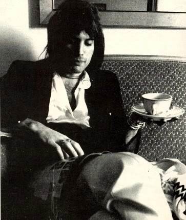 Freddie Mercury with tea.