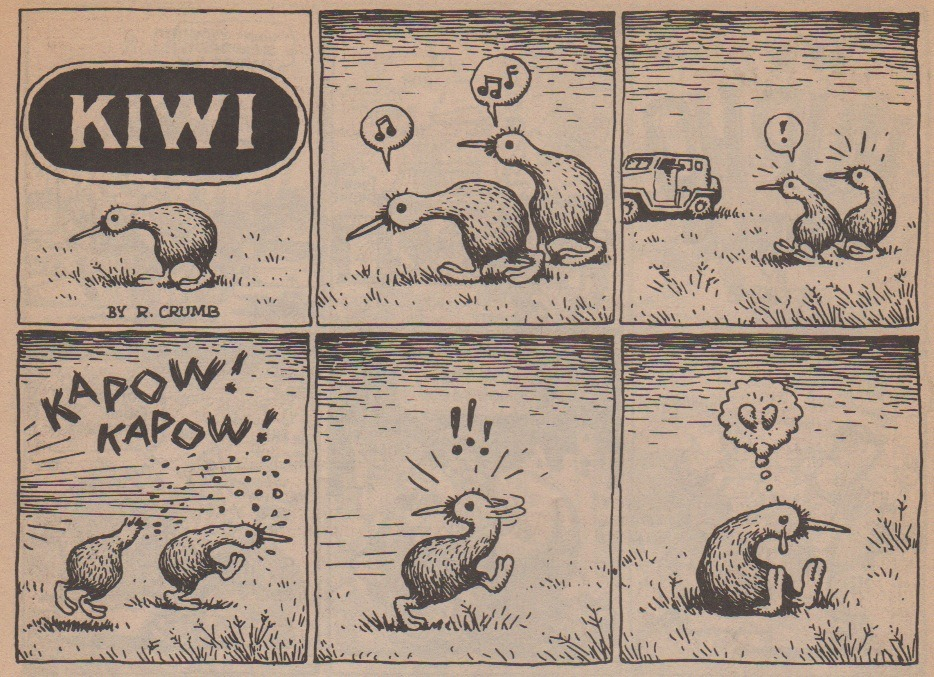 """KIWI"" by R. Crumb, 1979. Scanned from Best Buy Comics, Last Gasp Eco-Funnies, 1988. Originally published in Coevolution Quarterly, 1979"