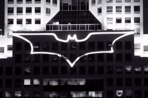 gothamarchitecture:  The Bat-Signal displayed on the Fifth Avenue Place in Pittsburgh during the filming of The Dark Knight Rises.