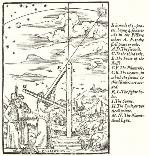 The ancient astronomer Ptolemy (in Ancient Greek:  Κλαύδιος Πτολεμαῖος, Klaudios Ptolemaios)  was a Greek astronomer and Roman citizen who lived from around 90 AD to 168 AD in Egypt, at the time part of the Roman Empire.  A prolific thinker and scientist, today Ptolemy is known chiefly for his work on astronomy, known today as The Almagest.  It remains the only complete and comprehensive treatise on astronomy to survive from ancient times.   Ptolemy also wrote books on optics, music and harmony, geography and even astrology.  The title of his key work the Almagest was not the title Ptolemy gave it.  The first title attributed to this work was Μαθηματικὴ Σύνταξις or Mathematical Treatise.  This was soon expaned to  Ἡ Μεγάλη Σύνταξις (hey megalay zuntaxis) or The Great Treatise.  When the manuscript was rediscovered by Arab mathematicians and astronomers centuries later, its importance as an astronomical treatise was clearly understood, and they named it The Almagest.  In this case, the prefix al- is redundant, al- being the definite article the. The Arab astronomers who found it elevated it from the Great Treatise to the Greatest, and used the Ancient Greek superlative megiste, meaning greatest.  Today, its name and importance converge-it is the most important early astronomical treatise, and therefore the greatest! Image of Ptolemy's triquetrum (or 'parallactic instrument') according to William Cunningham's The Cosmographical Glasse, conteinyng the Pleasant Principles of Cosmographie, Geographie, Hydrographie, or Navigation (London: John Day, 1559), in the public domain.
