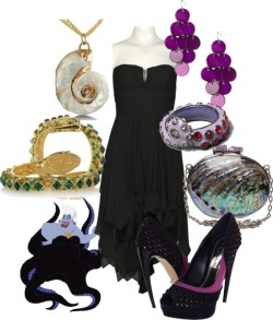 Ursula by aikalynn featuring crystal jewelryAlexander McQueen platform pumps, $1,155Celestina clutch handbag, £525Kenneth Jay Lane crystal jewelry, $365Mother of pearl shell jewelry, $20Drop earrings, £3.50Disney Couture Jewelry purple ring, $36Kenneth Jay Lane crystal jewelry, $365