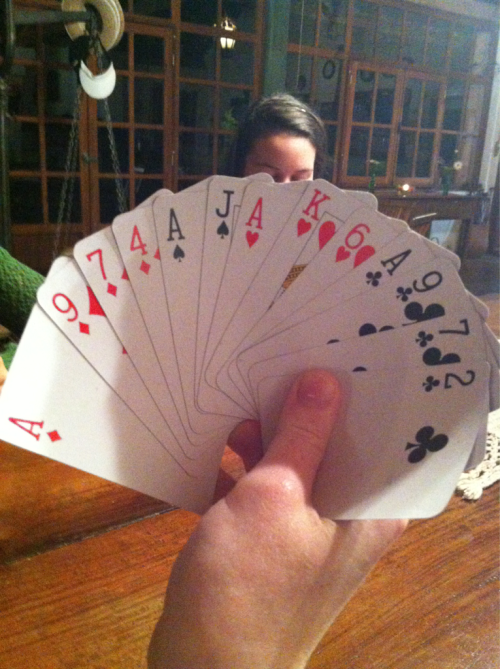 playing spades in brazil… an awesome hand with all 4 aces! Meredith would be proud