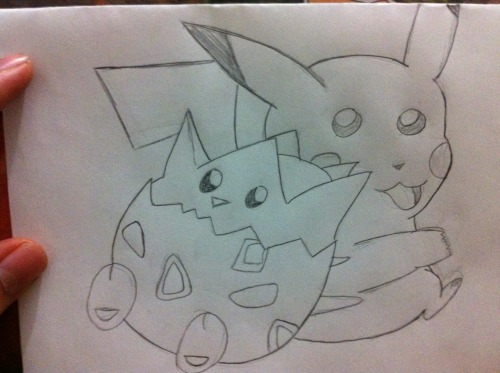 Drawing Togepi + Pikachu ;O I need to redo pikachu's face..