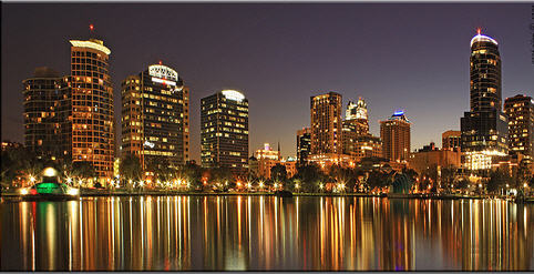 Lake Eola Park at night - Downtown Orlando