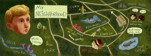 "This is an interpretation of the neighborhood in Illinois where I lived from the ages of eight to eighteen. There were these two subdivisions right next to each other, both of which had the word ""lake"" in their names. The more upscale subdivision had big, carefully landscaped lake, but ours was a murky borrow-pit pond next to the highway. And yes, I did have that serious look on my face for most of my childhood. I did this piece for They Draw and Travel and the Butts Collective."