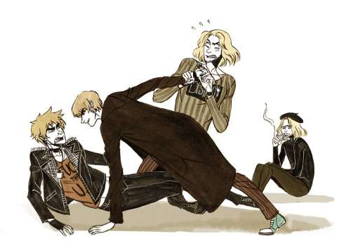 analdrawings:  082  1p!Arthur: What the bloody hell do you thing you're doing you psycho?! 1p!Francis: Stop it both of you you you're acting like children stop fighting AAAAAAAAAAH NO DON'T CUT ME! 2p!Francis: … *sigh* I am staying out of this.  click for bigger? can't stand being a day late so I scribbled a silly thing that's been in my head for a while. I need to get used to my new brush pen, practice, practice, practice! (2p!Arthur belongs to Beek the Owl and 2p!Francis belongs to epouvantail also i am sorry also 2p!France is a french surrealist beatnik because I couldn't imagine him as a mod like 2p!England. Maybe it's a bit unlogical but it's pretty funny to me)