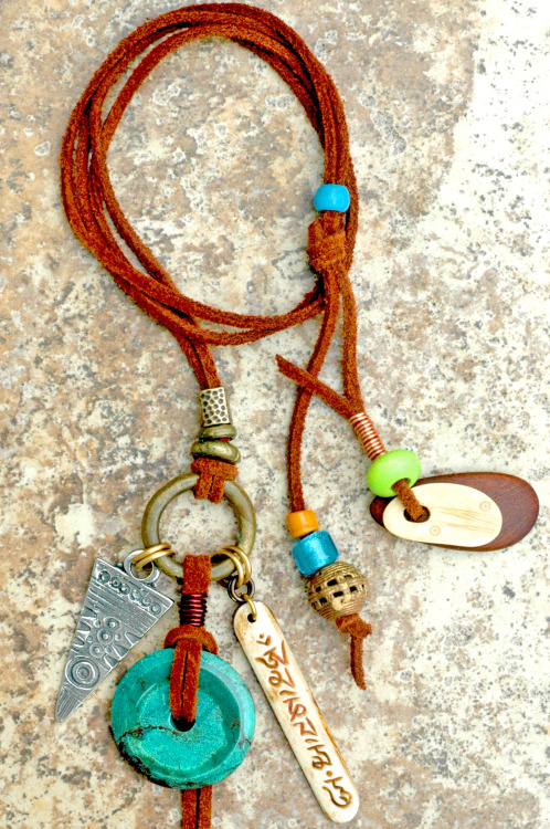 Tibetan Turquoise & Leather Brass Arrowhead Necklace
