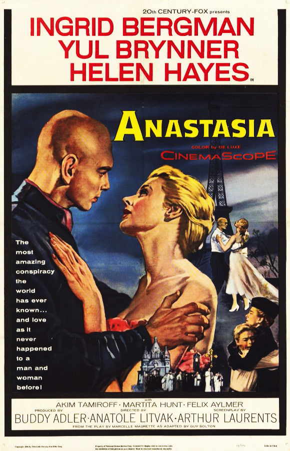 Movies I've Seen in 2012 118.  Anastasia (1956) Starring:  Ingrid Bergman, Yul Brynner, Helen Hayes Director:  Anatole Litvak Rating:  ★★★★/5