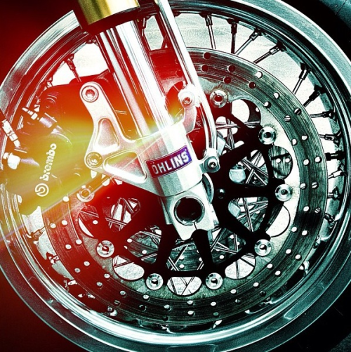 Sexy photo featuring Ohlins and Brembo. I'd be willing to bet this is a Ducati Sport Classic wheel.