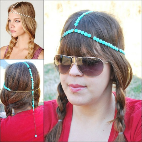 DIY Beaded Headpiece Tutorial. Photo Top Left: $75 Free People Daisy Daisy Chain Headpiece here, Photo Bottom Left and Right: DIY easy tutorial by Oh So Pretty here.