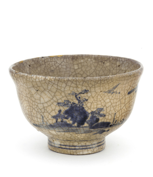 Arita ware tea bowl with landscape design (Edo Period: 1660-1680)