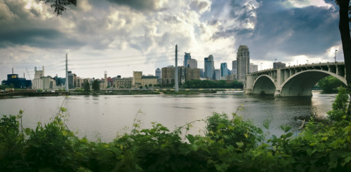 View of Minneapolis from St. Anthony Main. Larger.