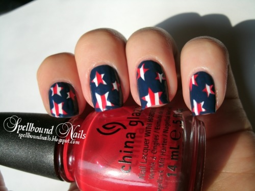 Memorial Day nail art using OPI Alpine Snow, China Glaze Poinsettia, and China Glaze First Mate. Read about this mani and see more pictures here.