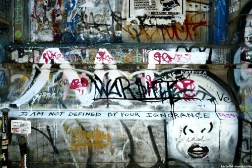 "tasteful-vandalism:  ""I AM NOT DEFINED BY YOUR IGNORANCE"" Part of the 90 Bowery building. Bowery & Spring st, Manhattan."