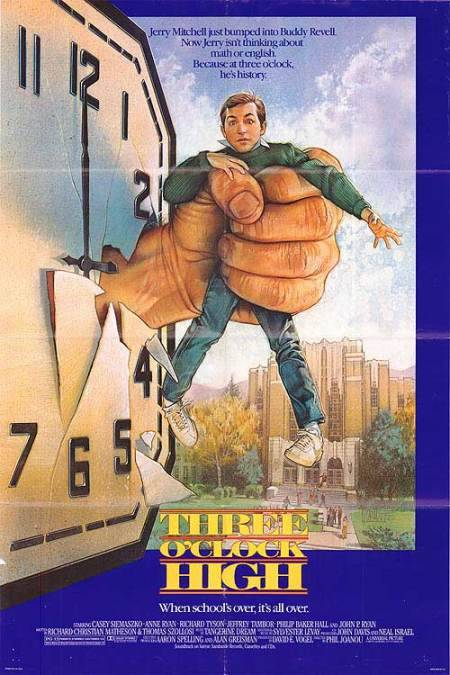 "Movie poster for the 1987 film ""Three O' Clock High"" starring Casey Siemaszko and Richard Tyson. Click the pic to watch the movie in its entirety."