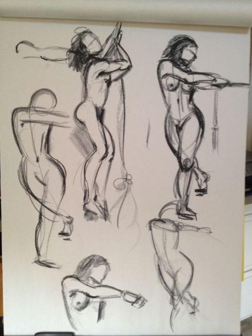 "Gesture drawings… still trying to work on drawing ""forcefully"". Also wanting to improve stroke economy, but that's still lagging behind a little. xD I think I gotta get used to this new method."