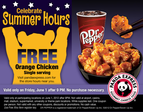Free Panda Express Orange Chicken! CELEBRATE SUMMER HOURS June 1st, Friday after @9PM Print coupon: link